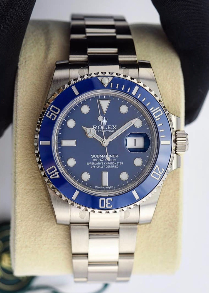 "Rolex Submariner ref. 116619LB ""the Smurf"" image from @watchbroker"